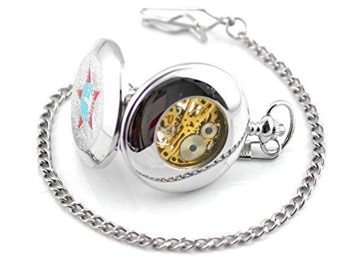 Taschenuhr mit CCCP Stern, TU72 Kette und Klipp für alle Taschen in Silber, Sowjetunion Vintage roter Stern, Modeschmuck, von Kobert Goods