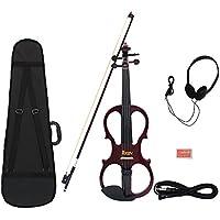 4/4 Holz Ahorn elektrische Violine Fiddle Saiteninstrument mit Ebony Fittings Kabel-Kopfh?rer-Kasten f¨¹r Musikfreunde Anf?nger