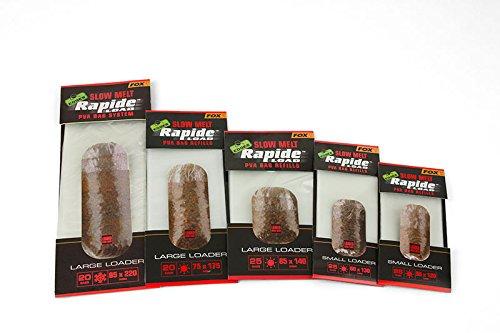 Fox Edges Rapide Refills Slow Melt - PVA Beutel zum Anfüttern, wasserlösliche Taschen für Grundfutter, Futterbeutel zum Angeln, Größe/Packungsinhalt:85x140mm - 25 Stück - Wasserlösliche Beutel