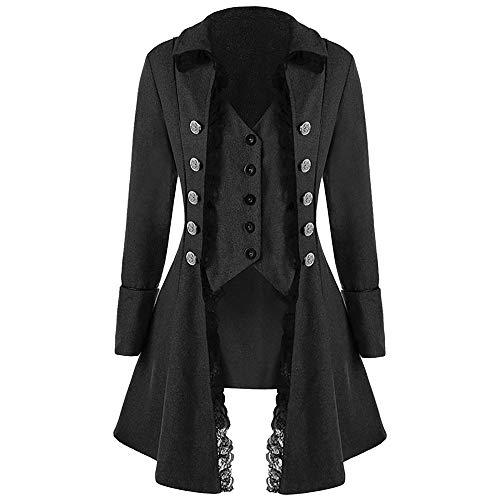 Mantel Herren Einfarbig Frack Jacke Gothic Gehrock Uniform Kostüm Party Smoking - Gilet De Kostüm Beige