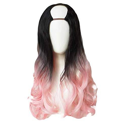 Rose/Noir 65 cm en U 2 tons longs cheveux bouclés perruque synthétique pleine perruque cosplay