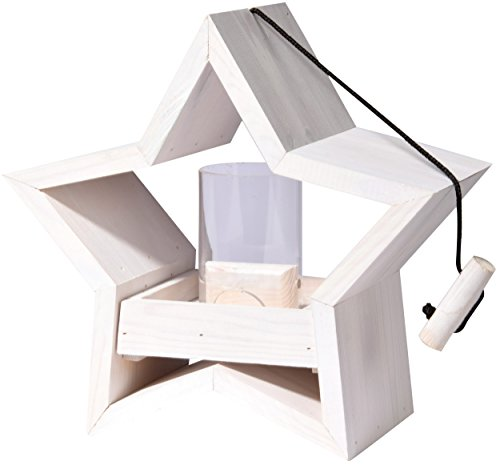 Luxus-Vogelhaus 85070e Stern Design mit Silo, aus Holz, Kordel zum Aufhängen, 30 x 14 x 30 cm, weiߟ