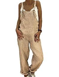 Pantalones para Mujer Suelta Mono Babero Pantalones Decoración del Metal Correa De Hombro Ajustable Algodón Y Lino Monos Suelto De La Mujer