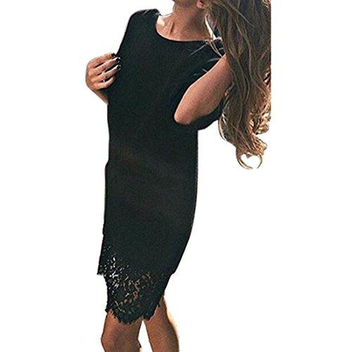 Shinekoo Femmes à Manches Longues Tricoté Robe Chandail en Dentelle Longue Base Pulls Noir
