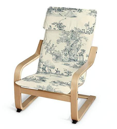 Dekoria Poäng Kissen für den Kindersessel Sesselhusse passend für IKEA Modell Klappsta Creme- blau
