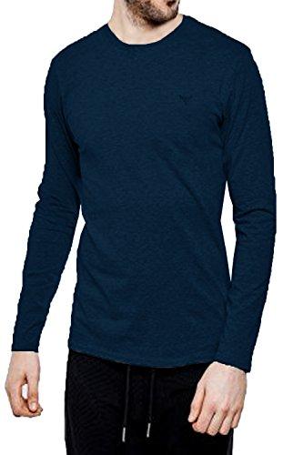 Threadbare Herren William T-Shirt Designer langärmlig Stretch Stoff T-Shirt Top Navy - Blue
