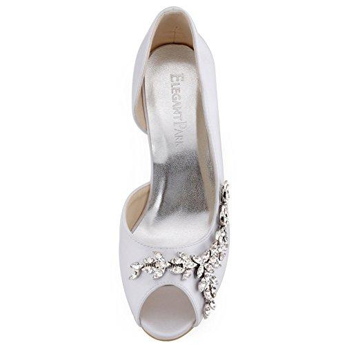 ElegantPark EL-005 Escarpins Femme Strass D'orsay Bout ouvert Pompes Chaussures de Mariage Mariee AC01 Blanc