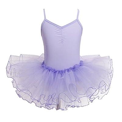 Freebily Kinder Ballettkleid Mädchen Ballettanzug Turnanzug Ballettoutfit Trikot Tanz Leotard Kleier für Ballettratte & Ballerina in Gr. 92-152
