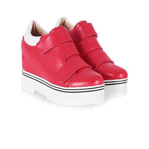 AllhqFashion Femme Matière Mélangee Rond à Talon Haut Velcro Couleur Unie Chaussures Légeres Rouge