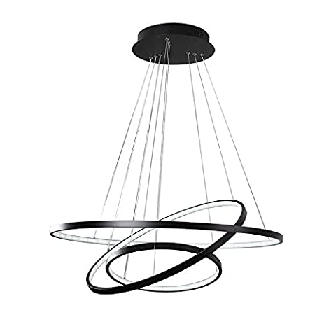 3-Rings LED Pendant Light Modern Simple Chandeliers Acrylic and Aluminum , Black