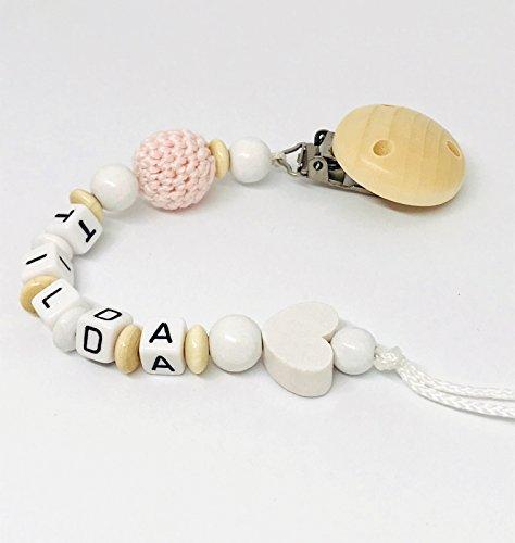 Schnullerkette mit Namen für Junge und Mädchen - personalisierte Baby Geschenke zur Geburt oder Taufe (Name-baby-kleidung Personalisierte)