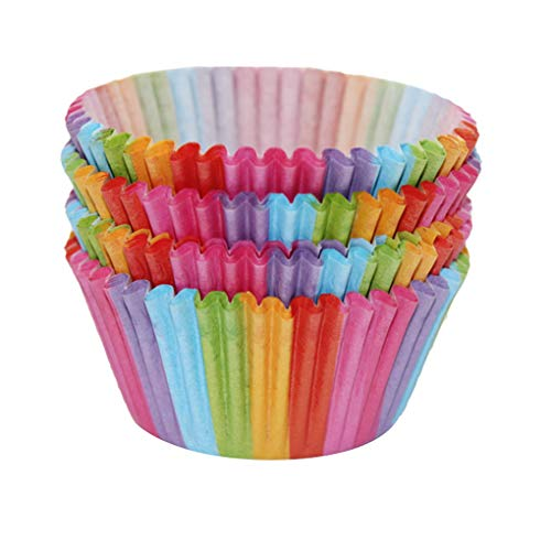 100pcs Rainbow Color Cupcake Paper Liners Muffin Mould Cases Cake Mold Baking Cup Kitchen Accessory Fluted Mould
