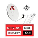 Diesl.com - Kit Parabolique 80cm + LNB + 2x F Connecteurs + 10x Brides