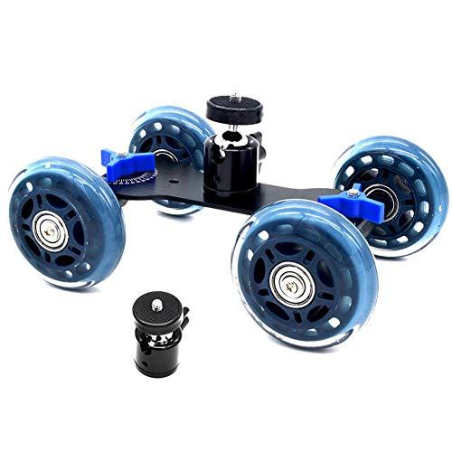 DSLR-Kamerawagen Kamera Tisch Dolly Slider mit 10 Kilogramm Tragkraft Skater Design Aluminium Ruten drehbar Gummiräder 1/4-Zoll Gewinde für DSLRs Video Camcorder
