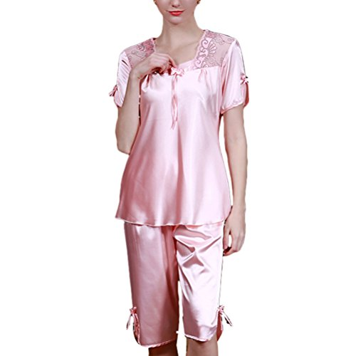 Zhhlinyuan 2PCS Fashion Women's Summer Lingerie Nightwear Set Comfortable Sleepwear Pale Pink