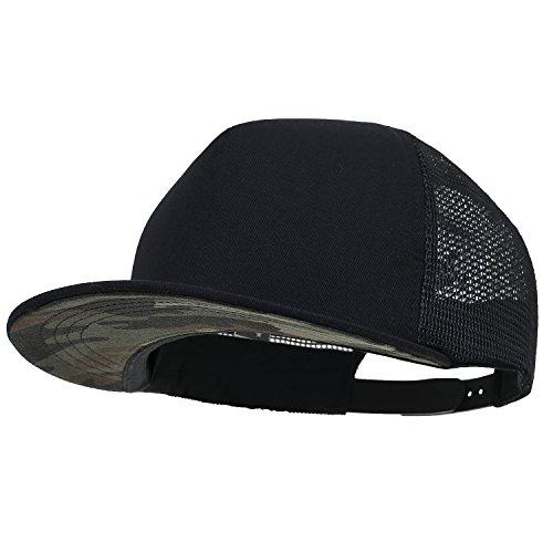 ililily Extragröße kräftige Farbe New Era Style Snapback Baseball Cap (X-Large, Black&Camo) Brim Baseball Cap