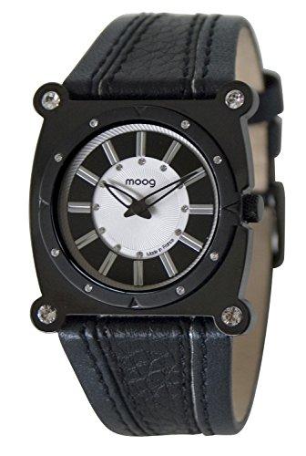 Moog Paris Fashion Montre Femme/Homme avec Cadran -, Eléments Swarovski, Bracelet Noir en Silicone - M45512-005