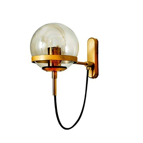 Magische Bohnen-Wandlampe, moderne Persönlichkeits-Glas-runde Kugel-Wandleuchten, nordischer Bett-Korridor-Wand-Lampen-Spiegel-Scheinwerfer YDYG (Farbe : Gold) -