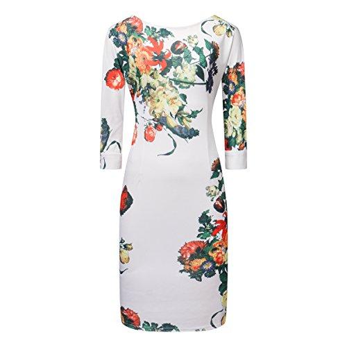 Swallowuk Damen Vintage Gedruckt Kleid Halbarm Slim Ballkleid Bleistiftrock (XXL, Weiß) -