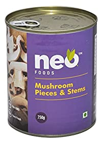 Neo Foods Mushroom Pieces and Stems Tin, 800 Grams - Pack of 12