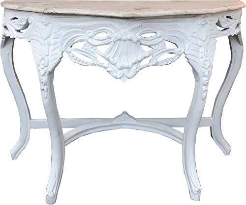 Casa Padrino Barock Konsolentisch Weiss/Creme mit Marmorplatte - Konsole Möbel Antik Stil