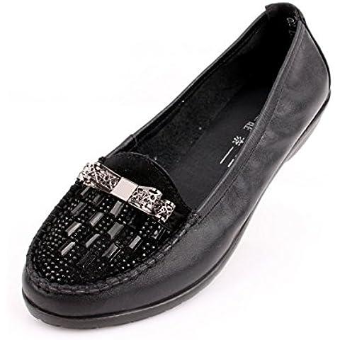 In pelle scarpe flats casuale donne di mezza età scarpe