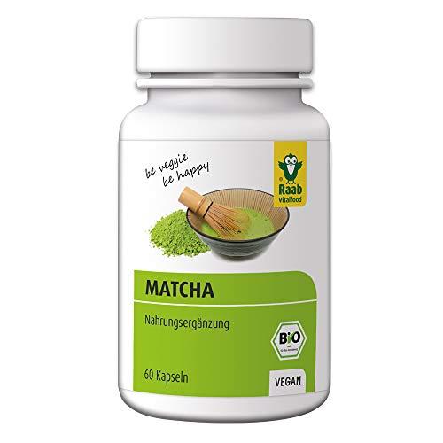 Raab Vitalfood Bio Matcha-Kapseln, 60 Stück, Grüntee-Extrakt aus Japan, Premium Qualität, laborgeprüft, vegan, glutenfrei, grüner Tee, 1 Monat