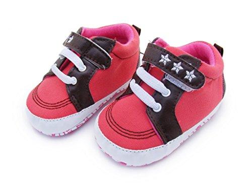 Bigood Baby-Unisex Liebe Mode Krabbelschuhe Baby Schuh Klettverschluss 11 Rot Rot