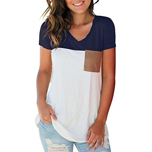 Moonuy Verkäufe Mehr als Hundert Bestellungen Täglich, Frauen Sommer T-Shirt, Casual Kurzarm V-Ausschnitt Color Block T-Shirt Elegante Slim Tops Bluse mit Taschen (EU 40/Asien XL, Marine) (T-shirt Hawaii-womens Rosa)