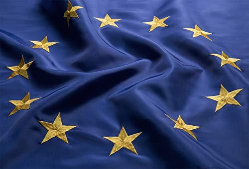 Europäische Union 150 x 90 cm EU Flagge Top Qualität Euro Blau 12 Stickerei-Sterne - Durable 210D Nylon -Nicht Billigeres Polyester MEHRWEG ()