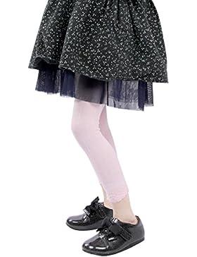 GATHER OTHER Bambine Collant Leggings Pantaloni in Cotone con Pizzo per Bambina Ragazza Rosa 5-8 Anni