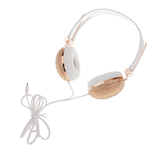 Baoblae Crystal Rhinestone Shiny Bling Stereo Headphone Headset Anti-noise Function Gold