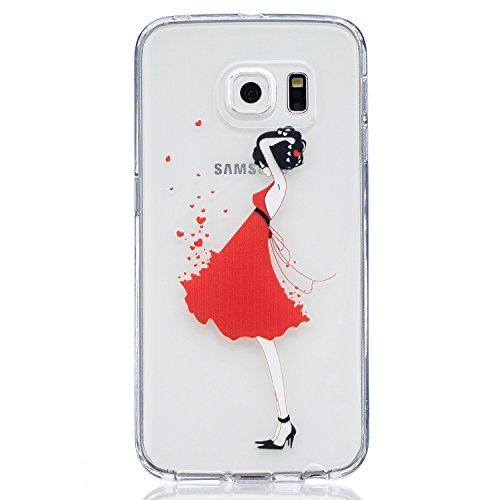 iPhone 6/6S 4.7 gel di silicone Custodia (con Gratuito HD Proteggi schermo) CaseHome Elegante sbalzato bianca Modello Design Cristallo Pulire Ultra magro Magro Antiurto morbido Durevole Graffiare Re Red Girl Dress