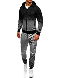 31d28e1646 Shawnlen Men's Tracksuits Set Gradient Long Sleeve Full Zip Hooded  Sweatshirt and Long Trouser Set Gym