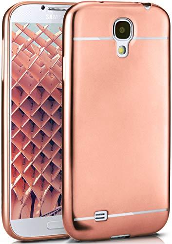 moex Samsung Galaxy S4 | Hülle Silikon Rose-Gold Smooth Back-Cover Chrom Matt Silikonhülle Ultra-Slim Schutzhülle Metallic Handy-Hülle für Samsung Galaxy S4 / S IV Case Dünn (Bling Phone Galaxy Cases 4s)