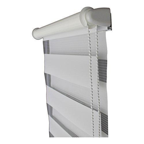 TOP MULTI Doppelrollo fertig montiert Duorollo Jalousie Klemmrollo Fenter & Türen creme oder weiß verschiedene Längen und Breiten - versandkostenfrei (D) (80cm Breite x 220cm Länge, Weiß)
