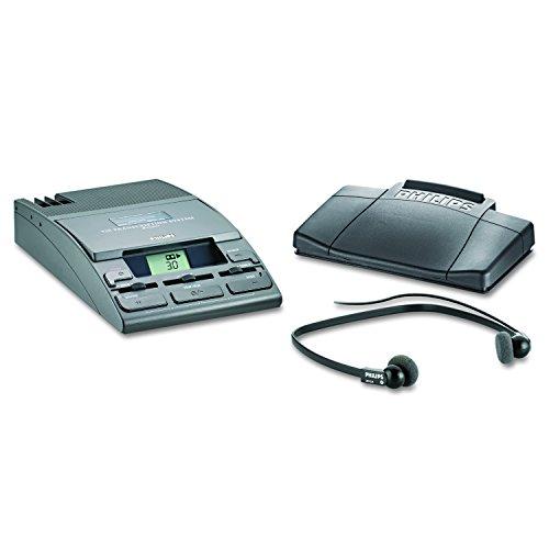 Philips LFH0720 Analoges Schreibtisch-Wiedergabesystem, Mini-Kassette (incl. Fußschalter, Unterkinn-Kopfhörer Netzteil, 30 Min. Mini-Kassette), Anthrazit