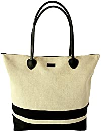 Le Sac Tote Shoulder Beach Bag In Canvas Fashion Striped Large Foldable Cute Stylish Zippered