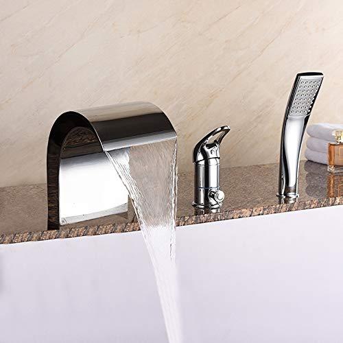 IBalody Wasserfall Badewanne Bad Vanity Sink Wasserhahn Chrom Poliert Messing Toilette Waschbecken Mischbatterien Sanitär-Armaturen Single-Griff-Single-Griff-Deck Mount -