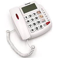 FUNKER D20 Blanco TELÉFONO Fijo SOBREMESA/Pared Especial para Personas Mayores, Teclas Y Pantalla Grandes, MEMORIAS DIRECTAS con Foto, Volumen Extra Fuerte, Funcion Manos Libres