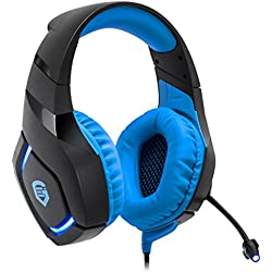 EMPIRE GAMING - H1100 Casque Gamer - Multiplateforme - Son Stéréo Haute Définition - Micro Flexible, Omnidirectionnel - Télécommande Filaire - Compatible avec PC, PS4, Xbox One - Bleu