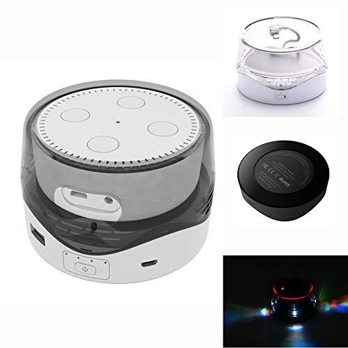 BECROWMEU Tragbarer Akku Basis für Echo Dot, 6000 mAh Smart Externe Batterie Base Wireless Charging mit USB zum Aufladen von Handys und Anderen Geräten weiß