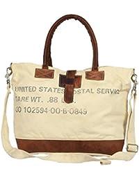 Priti Luxury Design Handbag Tote Bag Travel Bag In Washed Canvas Leather - B0791FNTYB