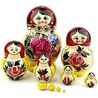 Muñecas Rusas Redondeadas, 10 Matrioskas de Estilo Rojo Redondeado | Muñeca Babushka de Madera Hecha a Mano en Rusia | Semiónov Rojo Redondeado, 10 Piezas, 16 cm
