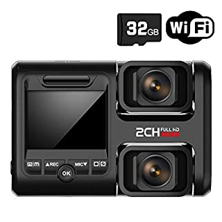 HOFOUND Dual Dash Cam Front And Rear,1080P Driving Recorder WIth Sony Sensor, Wifi, GPS, Night Vision Parking Monitor and Motion Detection