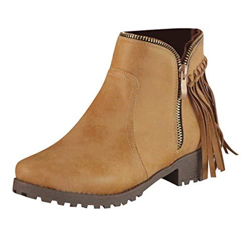 Junjie Mode Retro Damen Womens Tassel Low-heele Zipper Heele Reißverschluss rutschfeste Non-Slip Roman Shoes Short Boots Black,Brown,Gray Rutschfeste Non-slip