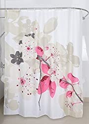 Magic Vida Dekorative Blumen Duschvorhang Pfirsichblüte Nature Series mit lebendigen Farben 180cm x 200cm