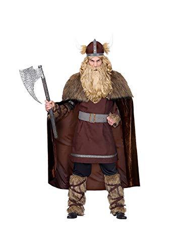 Disfraz de guerrero vikingo con capa y barba
