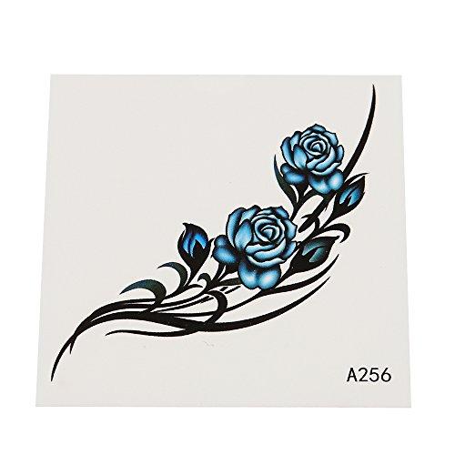klebetattoo-temporar-tribal-schwarz-rosen-bluten-blau-einzeln-1-bogen