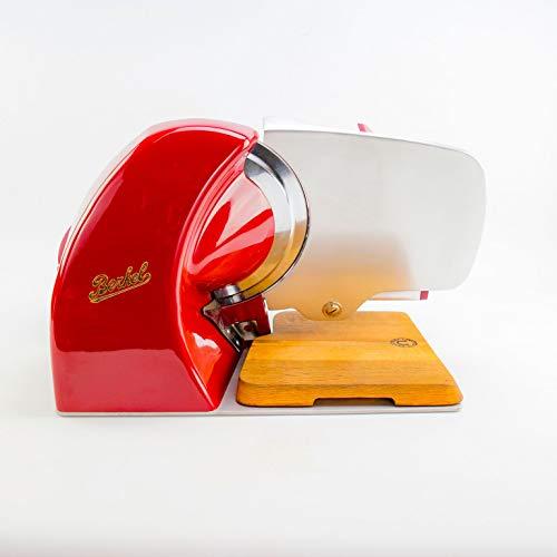 Berkel - Elektrische Aufschnittmaschine Home Line 250 - Rot - Neues Modell 2018 + von Hand gefertigtes Schneidebrett aus Fassholz